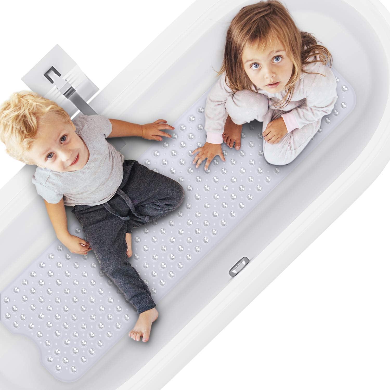 mit Saugnapf rutschfest schimmelresistent Magicfun Badewannenmatten Extra lang Badezimmer Maschinenwaschbar Handwaschbar 100 x 40 cm Kieselsteine