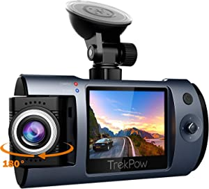 "Dash Cam, Trekpow T1 HD 1080P Car DVR Dashboard Camera with 180°Rotation Len, 2"" LCD, 170°Wide Len, Night Vision, G-Sensor Lock, Loop Recording, Motion Detection, Parking Mode"
