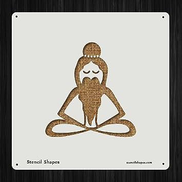 Yogi Yoga Stretch Meditate, Style 6474 DIY Plastic Stencil Acrylic