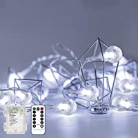 Metaku Outdoor String Lights Battery Operated 16.4ft 50LED Fairy Lights with Remote Waterproof Indoor Outdoor Hanging…