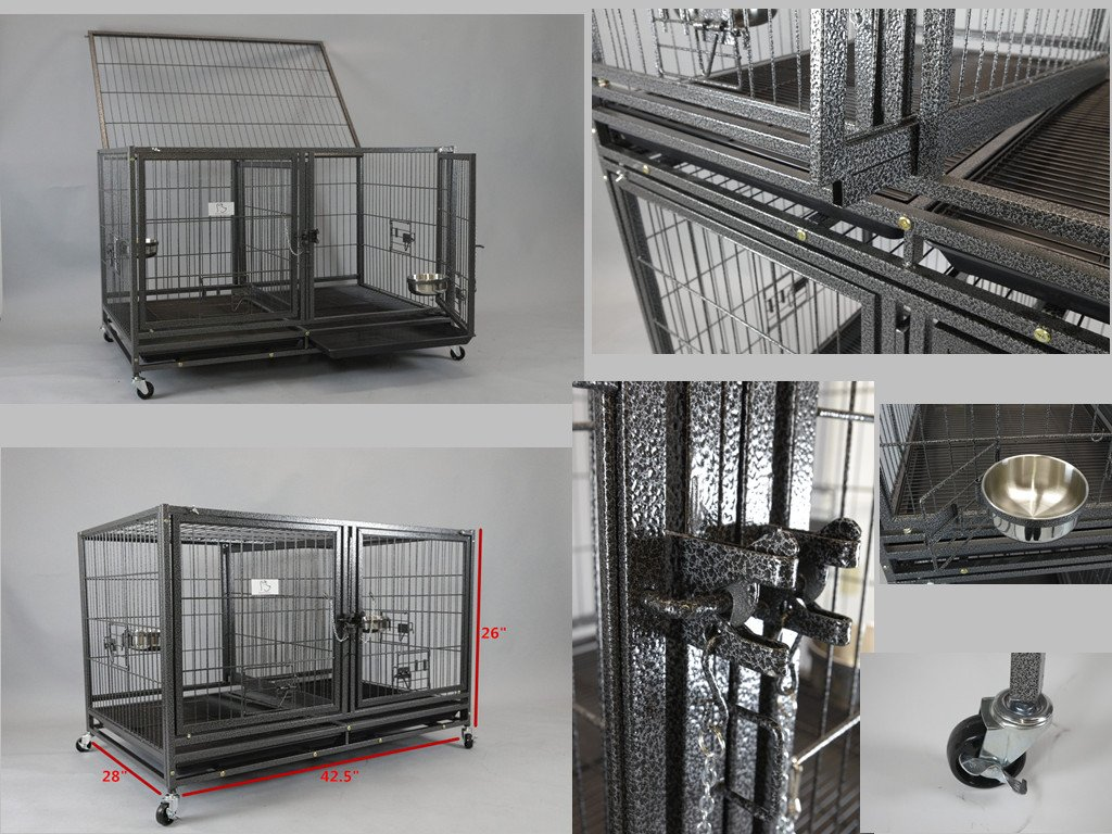Homey Pet-43 All Metal Open Top Stackable Heavy Duty Cage(Upper) w/Floor Grid, Tray, Divider, and Feeding Bowl by Homey Pet (Image #2)
