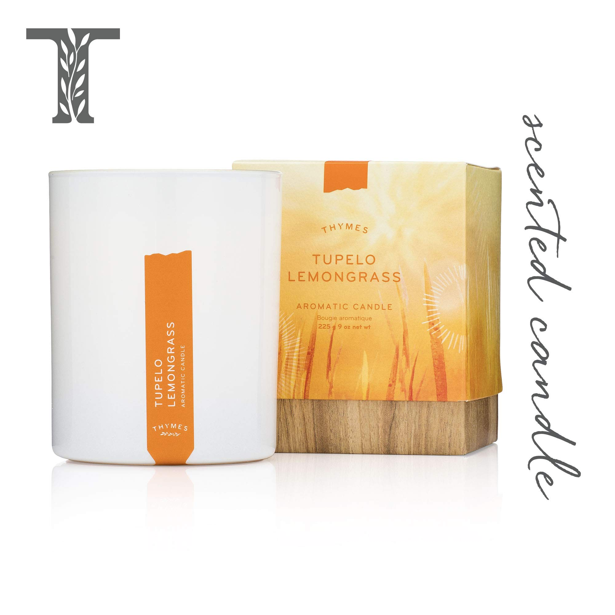 Thymes - Tupelo Lemongrass Aromatic Scented Candle - Long Lasting Citrus Scent with Gift Box - 9 oz