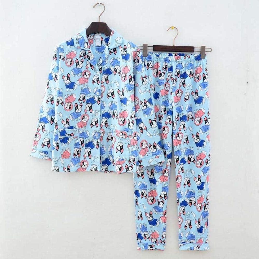 Lindo Pato Rosa 100% algodón Pijama Traje Mujer Lindo Pijama de Manga Larga Muji Invierno Cepillado Invierno cálido Pijama casero-PH-002_M: Amazon.es: Hogar