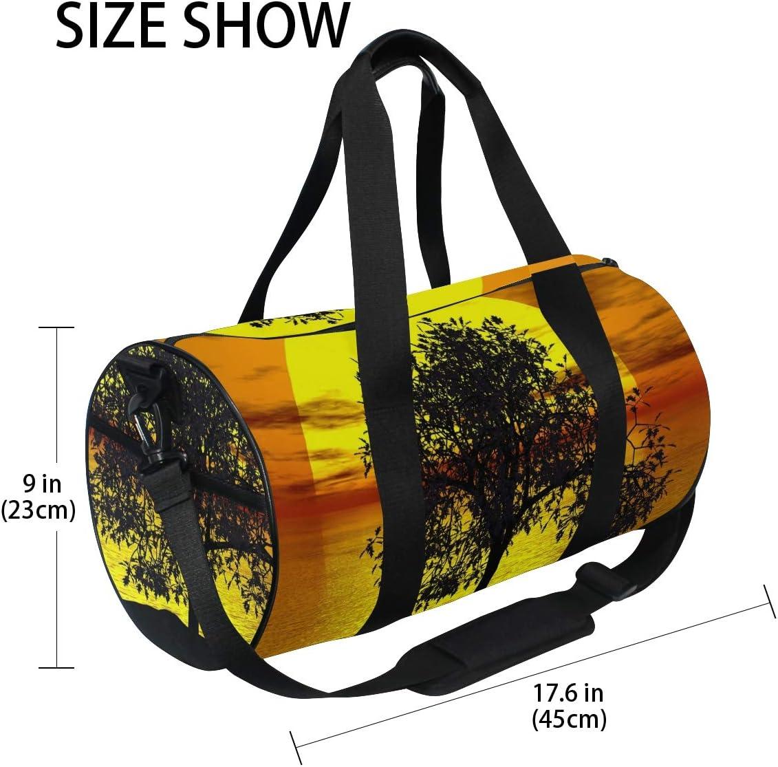Sunset Tree Landscape Sports Gym Duffel Bag Travel Duffle Bag Sports Luggage Handbag for Men Women Girls Boys