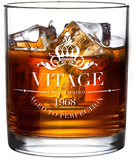 1968 50th Birthday Gifts Whiskey Glass For Men And Women Vitage Wedding Anniversary Gift Ideas