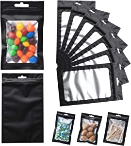 120 PCS 5x8 Inch Resealable Mylar Bags with Clear Window Ziplock Packaging Smell Proof for for Food, Cookies, and Candy, Matte Black