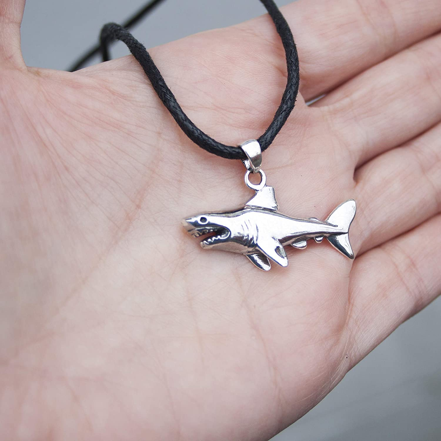 Designer Jewelry Gifts for Scuba Divers and Fishers Shark Fish Pendant Necklace Solid Sterling Silver 925