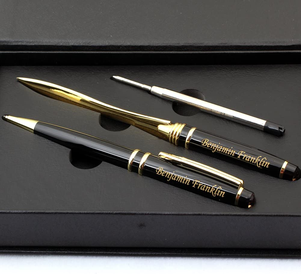 Free Engraving - Brass, Roller Ballpen, Refillable Pen, Ballpoint pen, Ball pen, Letter Opener Envelope Slitter Gold Blade Knife Letter Opener Gifts for Men, Women, Classy Gift Box, Free Customization
