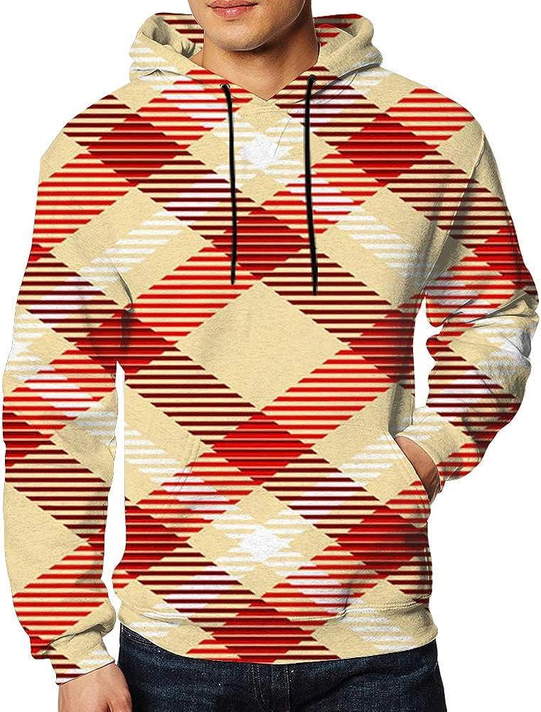 Check Plaid Scottish Men Pullover Hoodie Sweatshirt 2XL