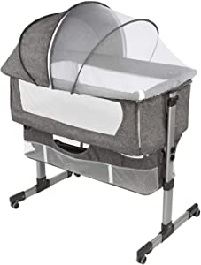 Bedside Sleeper Bedside Crib, Baby Bassinet 3 in 1 Travel Baby Crib Baby Bed with Breathable Net, Adjustable Portable Bed for Infant/Baby(deep Grey)