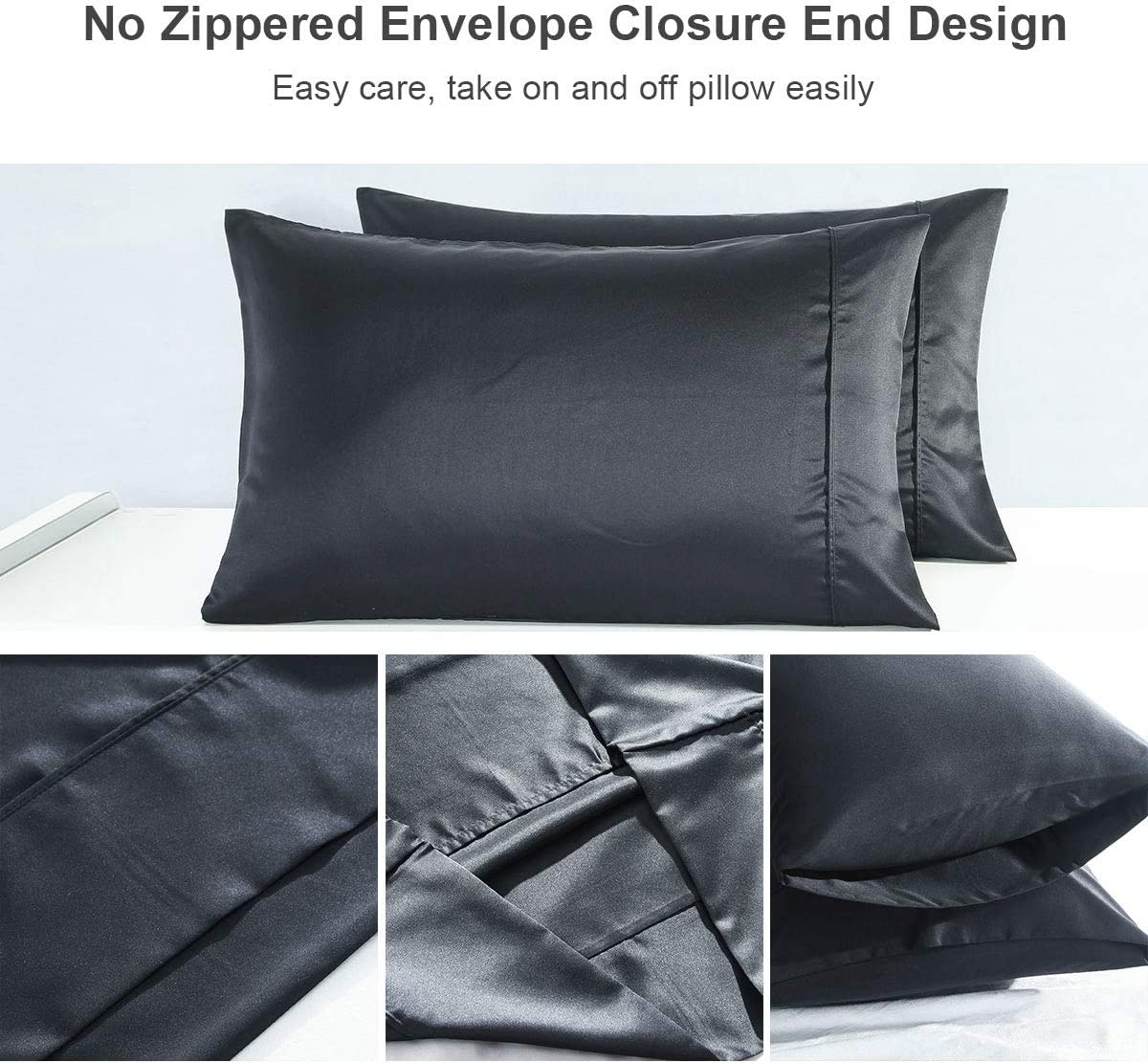 Black, Queen Size 20x30 RUIKASI Silky Satin Pillowcases Set of 2 Queen Size 20x30 inches Luxury Pillow Covers with Envelope Closure Anti Wrinkle Prevent Hair Loss Hypoallergenic Wash-Resistant Soft Pillow Shams