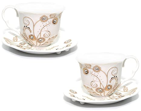 555df78ff40 Amazon.com   Euro Porcelain Rococo 4-pc Coffee Tea Cup Set, 24K Gold ...