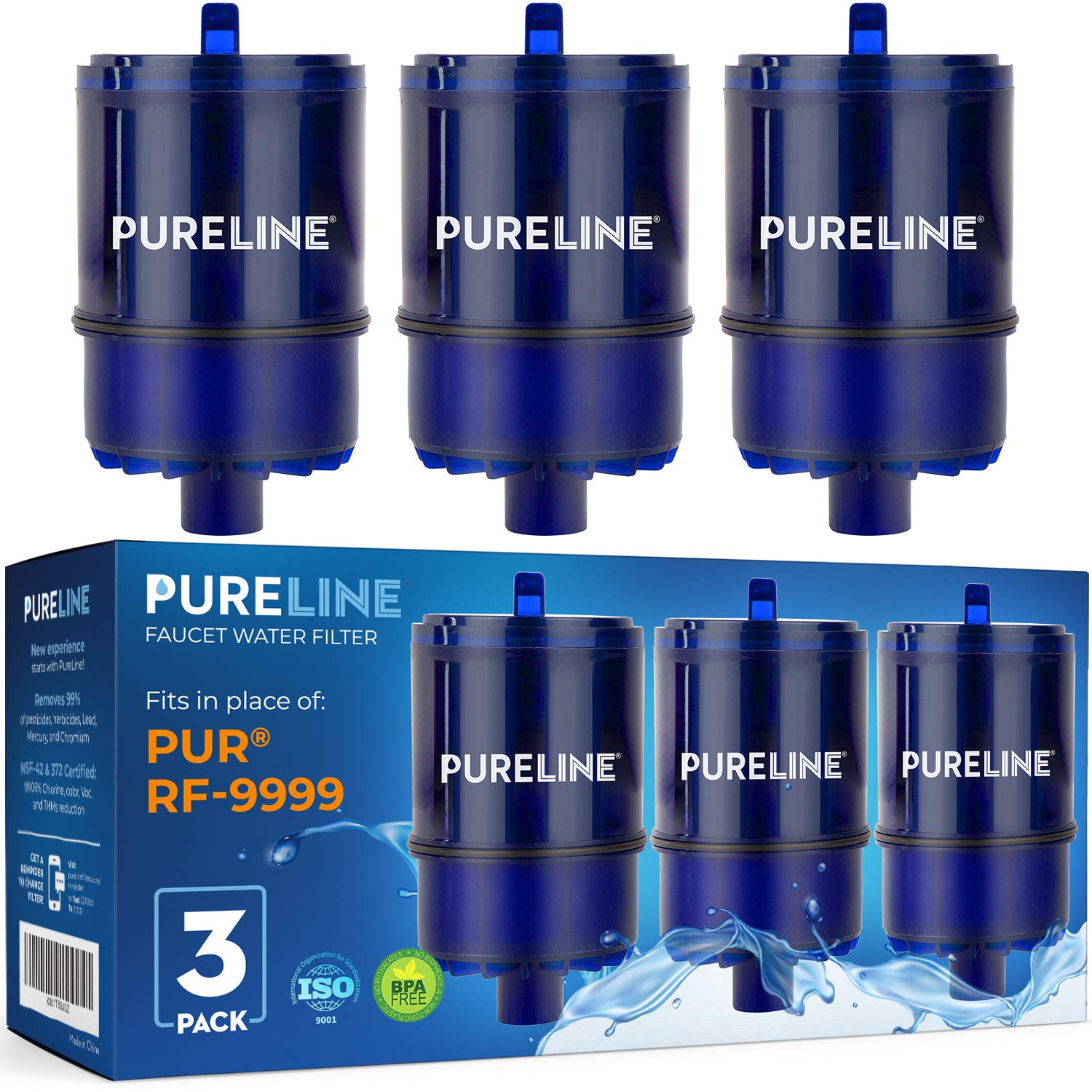 PURELINE RF9999 and RF3375 Water Faucet Replacement Filters. Compatible with PUR RF9999 & RF3375 Water Faucet Filters, PUR Classic, Advanced, and Horizontal Faucet Mounts. (3 Pack): Industrial & Scientific
