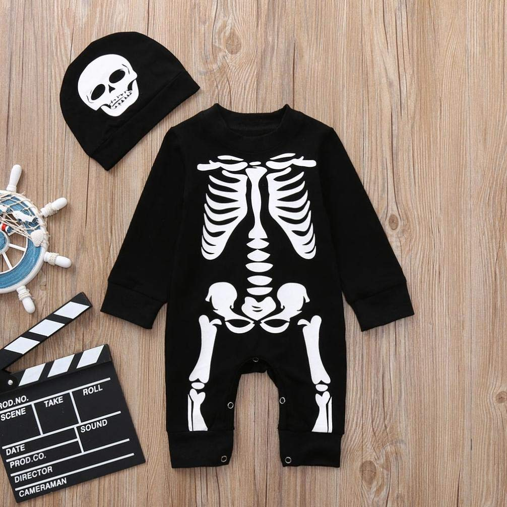 Bebe Ni/ño Halloween Disfraz Esqueleto Peleles de Manga Larga Sombrero