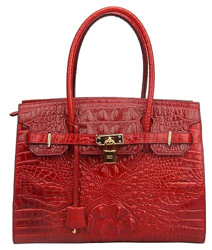 e739c5da8e54d Ainifeel Women s Crocodile Embossed Leather Handbags and Purses On  Clearance (Red ...