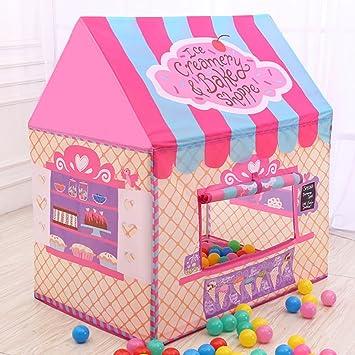 Tienda de Campaña Infantil Casita de Tela para Niños Plegable Dibujos Animales Pastel Rosa: Amazon.es: Juguetes y juegos