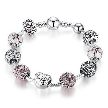 Bracelet à Breloques pour Femme Filles-Rose Cristal Coeur Charm Plaqué  Argent Bracelet - Bijoux 9c693a876b8b