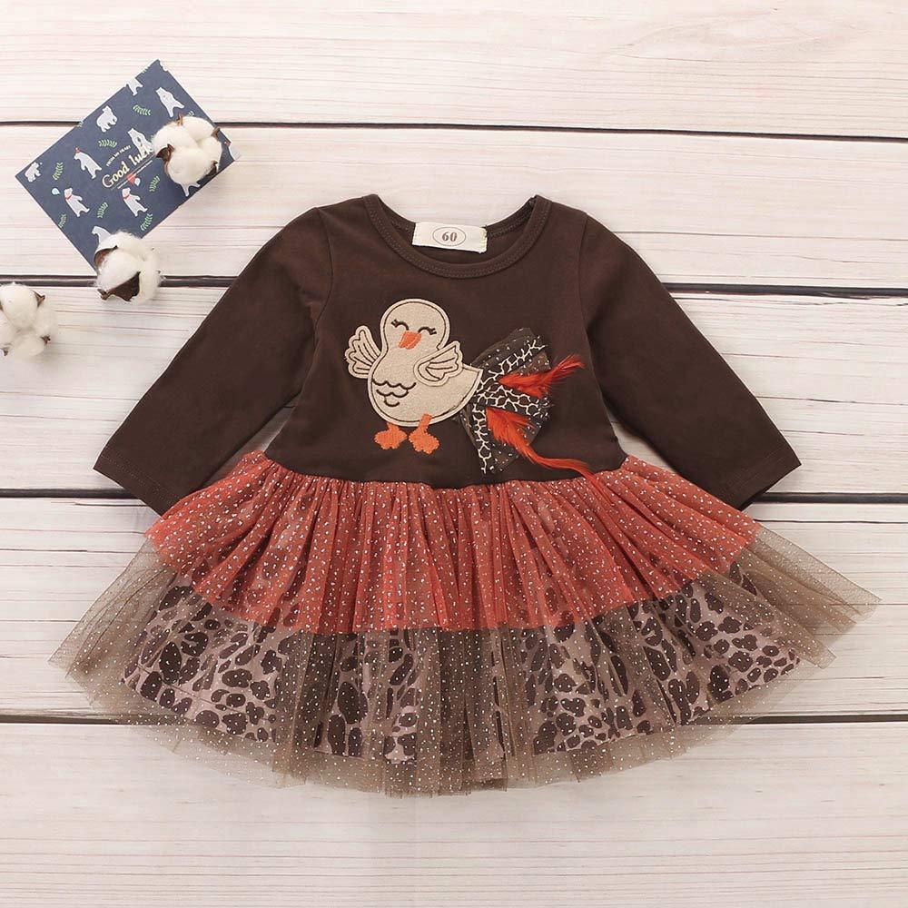 Suma-ma Girls Tutu Dress,Turkey Thanksgiving Day Gauze Tutu Dress Outfits Cloth for Infant Toddler Baby Girls 3-24 Months