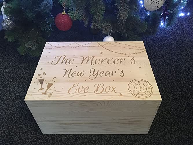 Any Name GIFT Personalised Wooden Crate New Years Eve Hamper Box