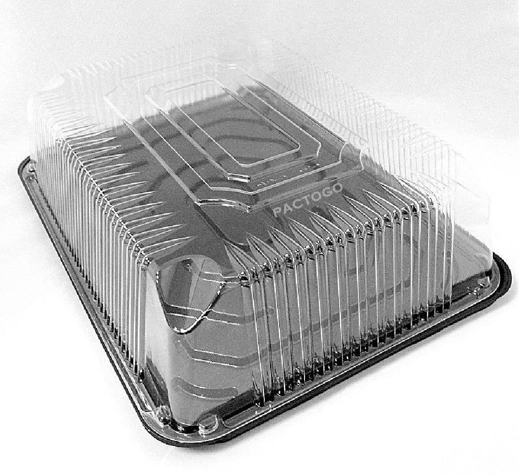 G83 Black 1/4 QuarterSize Sheet Display Cake Tray +Clear Low Dome Lid