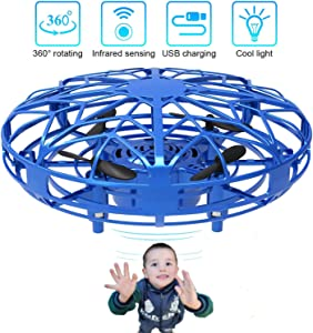Hand Operated Drone for Kids Adults, MilanSo Hands Free Mini Drone Helicopter with Flashing Led Light, 2 Speed Adjustable 360° Rotating, Easy Indoor Outdoor UFO Flying Ball Drone Toys for Boys Girls