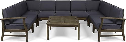 Great Deal Furniture Judith Outdoor 10 Piece Acacia Wood Sofa Sectional Set
