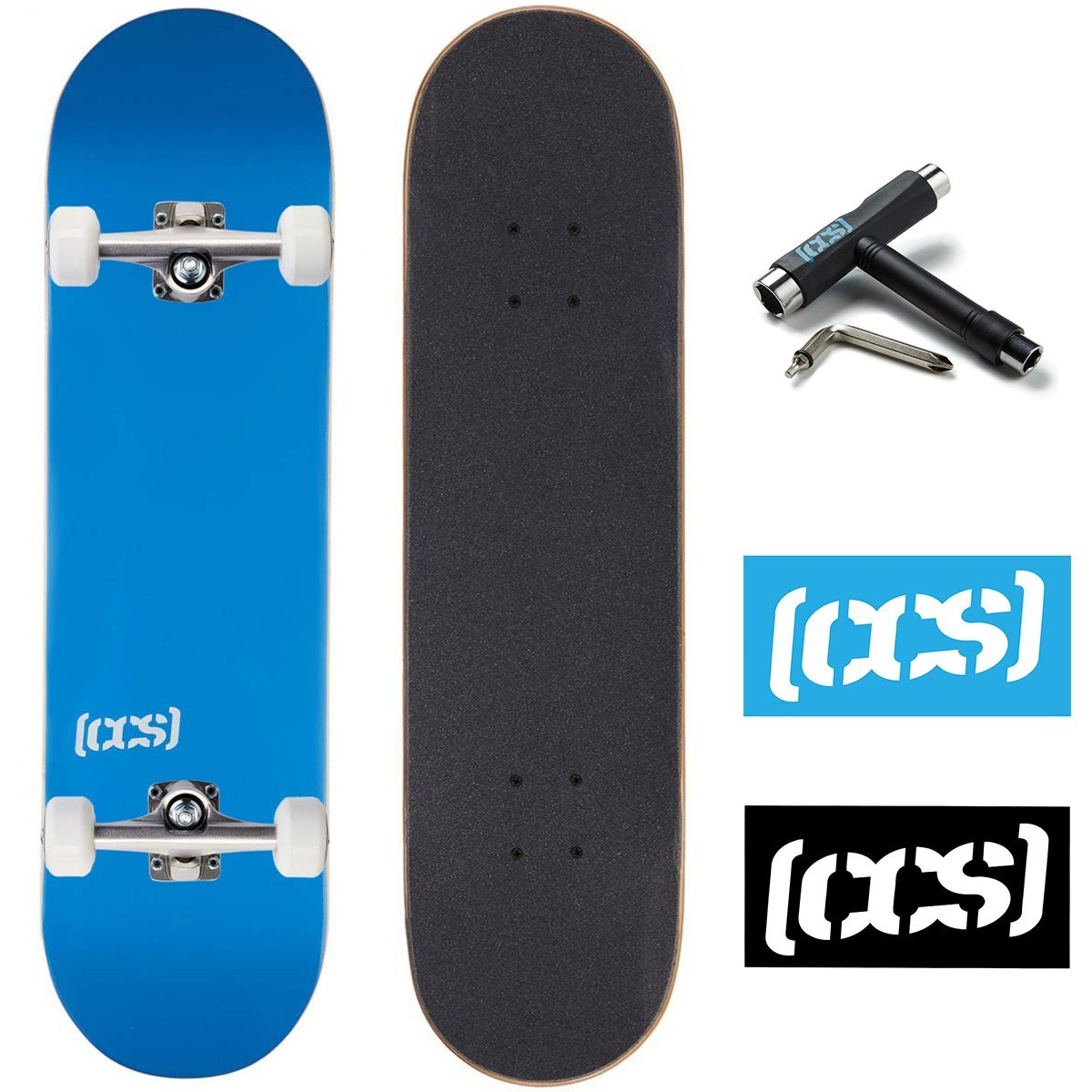 CCS Skateboard Complete - Color Logo and Natural Wood - Fully Assembled - Includes Skateboard Tool and Stickers (Blue, 7.0'' (Mini/Kid's Size))
