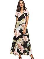 Milumia Women's Vintage Floral Print Split Wrap Maxi Dress