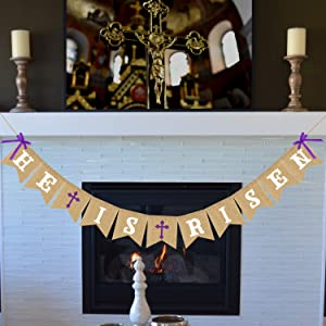 HE is Risen Banner Burlap - Easter Banner - Easter Decorations - Religious Holiday Resurrection Bunting - Church Mantel Outdoor Hanging Decor