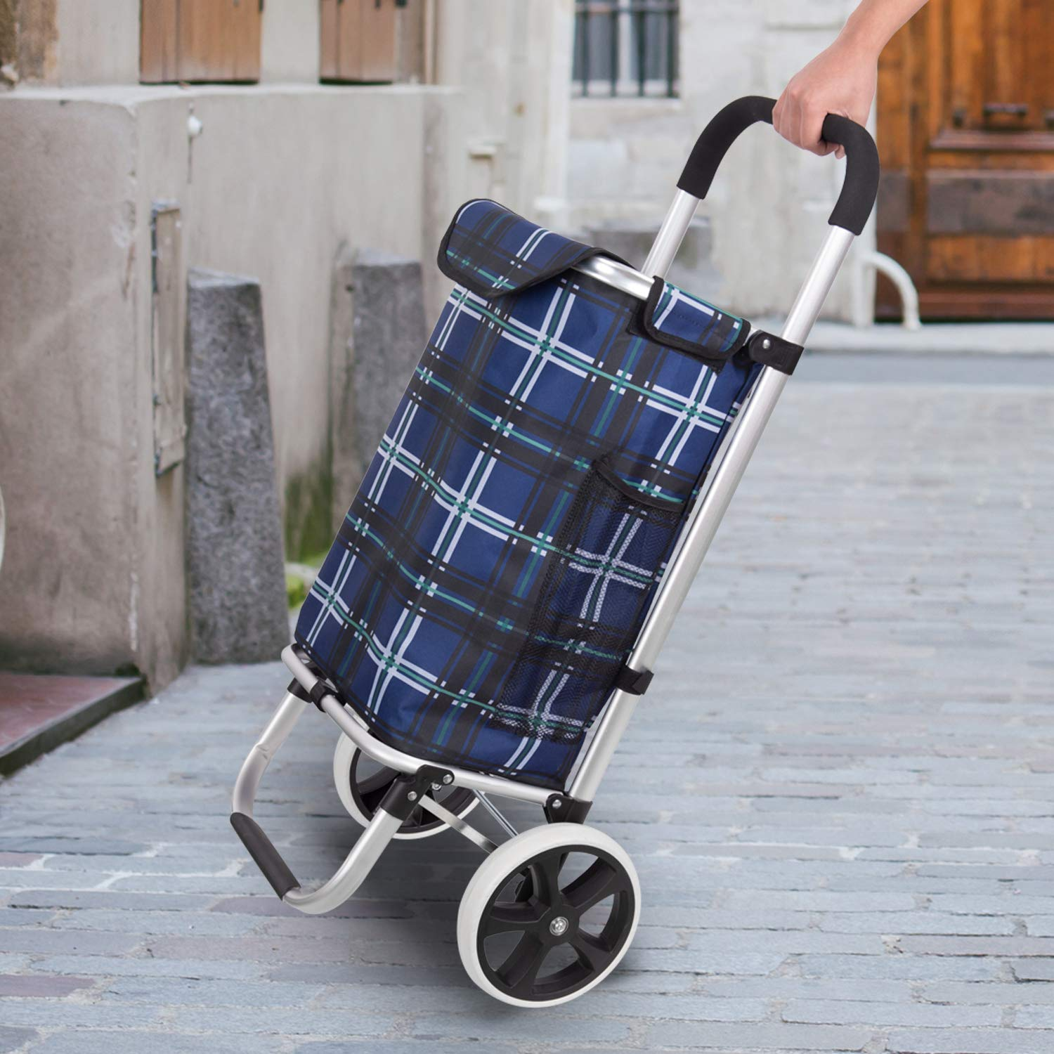 Waytrim Outdoor Aluminum Folding Shopping Trolley Dolly With Wheels And Bag Lightweight Grocery Laundry Utility Cart Portable For Shopping Travelling Heavy Duty Aluminum Frame Red Plaid Picnic Shopping Baskets Carts