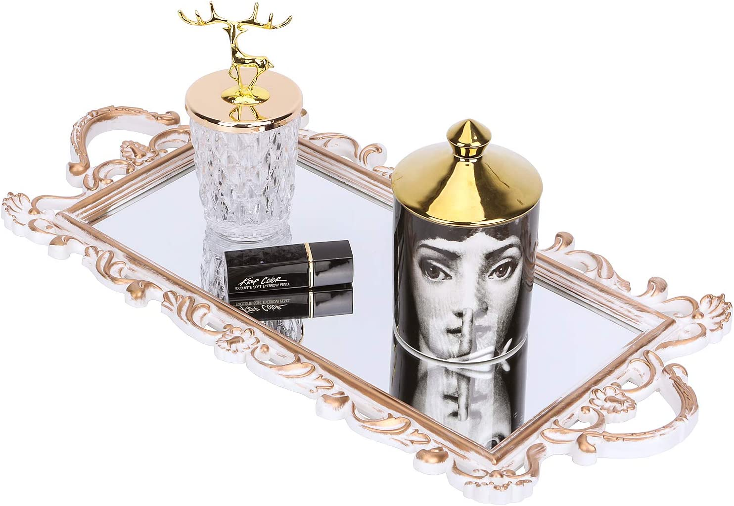 Zosenley Decorative Mirror Tray, Rectangle Vanity Organizer for Perfume, Makeup, Jewelry and Décor, Floral Display and Serving Tray for Ottoman, Coffee Table, Dresser and Bathroom, Golden White