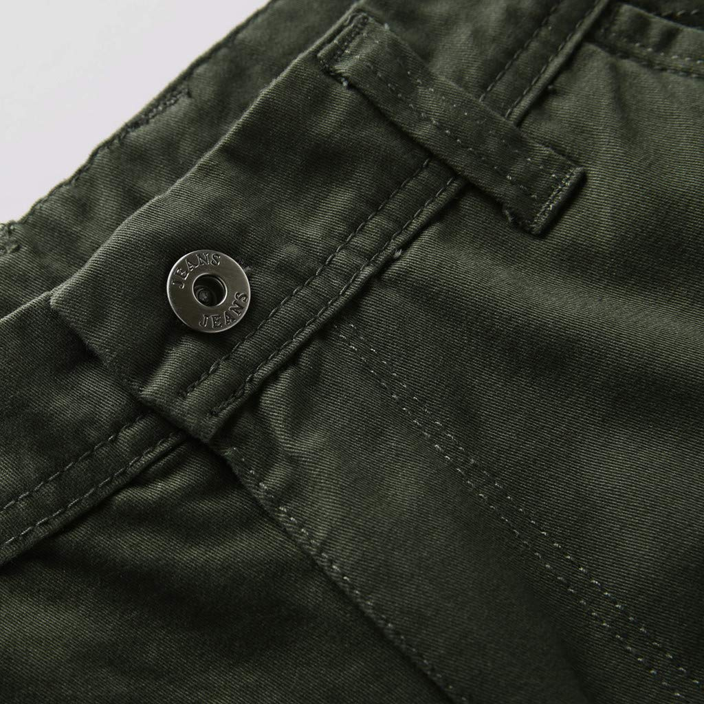 LEERYAAY Cargo&Chinos Men's Summer Outdoors Casual Loose Multiple-Pockets Cotton Overalls Beach Shorts ArmyGreen by LEERYAAY (Image #5)