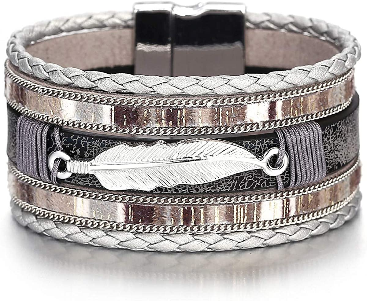 Multilayer Leather Wrap Bracelets Stackable Stainless Steel Magnetic Buckle VSCO Layered Bracelet for Women Girls