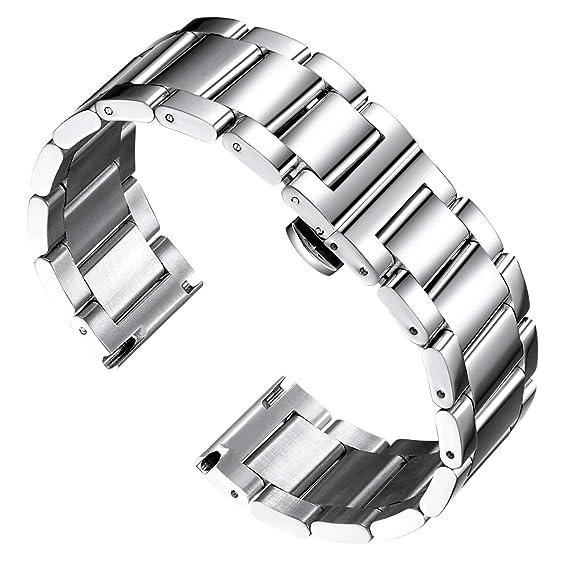 BINLUN Reemplazo de la Banda de Reloj de Acero Inoxidable Reloj de Metal Pulido Correa Sólida para Hombres Reloj de Mujer 16mm/18mm/20mm/21mm/22mm/ ...