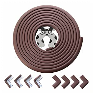 Baby Corner Edge Guard Protector - 3M Taped Baby Proofing Furniture Bumpers Guard for Table Desk Firelace 20.4ft(18ft Edge + 8 Corners) Coffee Brown