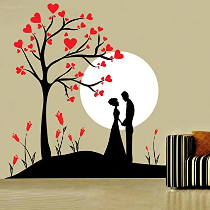 Decor Kafe Home Decor Couple Under Tree Wall Sticker, Wall Sticker For  Bedroom, Wall