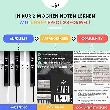Piano + Keyboard Notas de piano + Gratis eBook | Premium para 49, 61, 76, 88 teclas Pegatinas Juego completo para Negra + Weisse teclas | C de D de S de ...