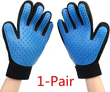 Massage Tool with Enhanced Five Finger Design 1 pair 2-in-1 Pet Grooming Glove Dog /& Cat Brush Efficient Pet Hair Remover