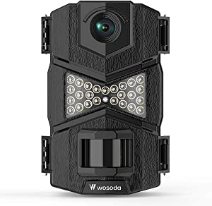 WOSODA 16MP 1080P Trail Camera, with Upgraded 850nm IR LEDs Night Vision 260ft Wildlife Camera, 2.0''LCD for Home Security Wildlife Monitoring/Hunting (Black)
