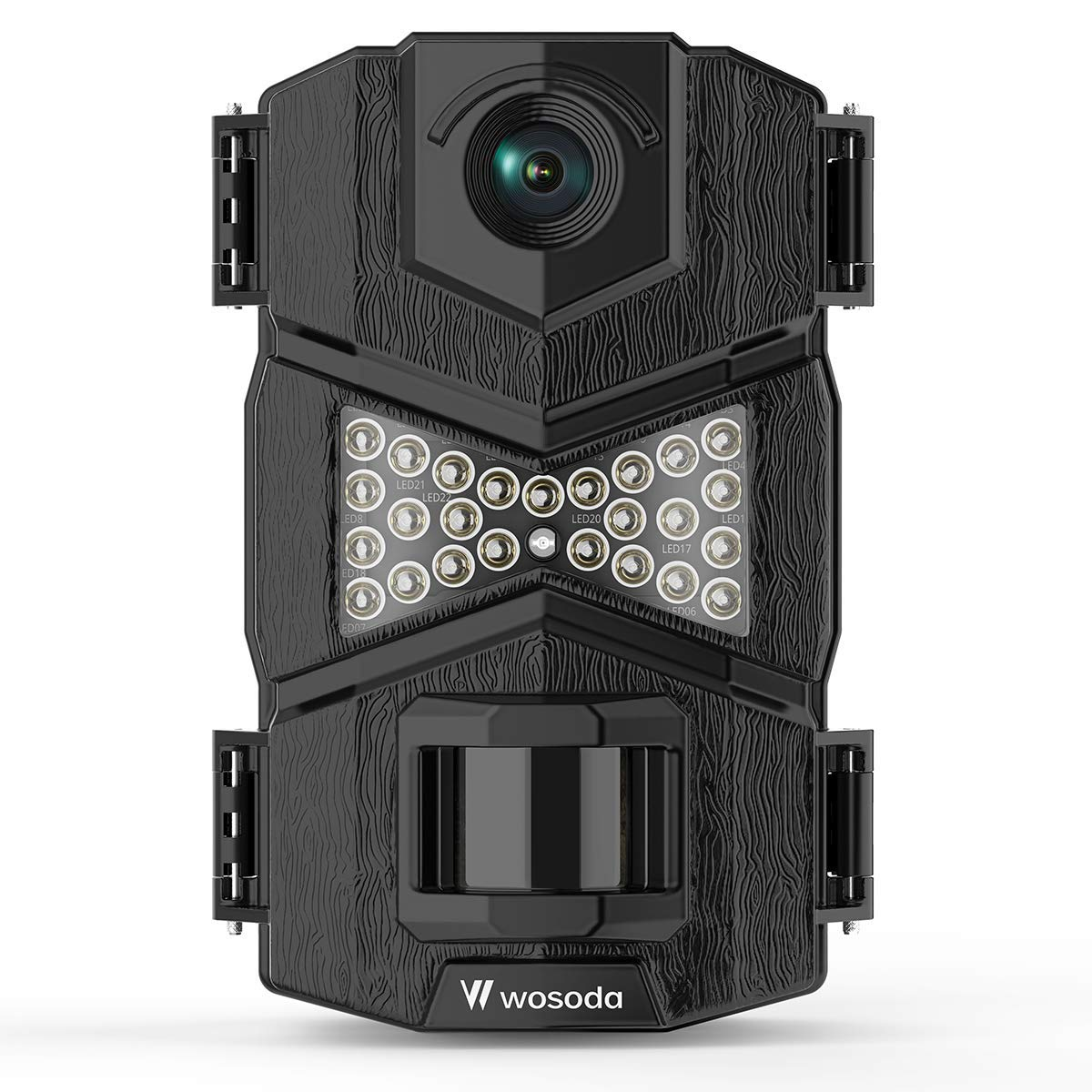 WOSODA 16MP 1080P Trail Camera, with Upgraded 850nm IR LEDs Night Vision 260ft Wildlife Camera, 2.0 LCD for Home Security Wildlife Monitoring Hunting Black