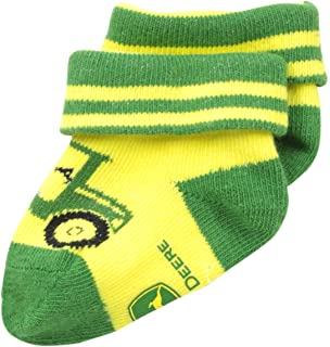 ad49ac4ff235 Amazon.com: John Deere Baby Girls' Striped Crew 1 Pack, Green/Yellow ...