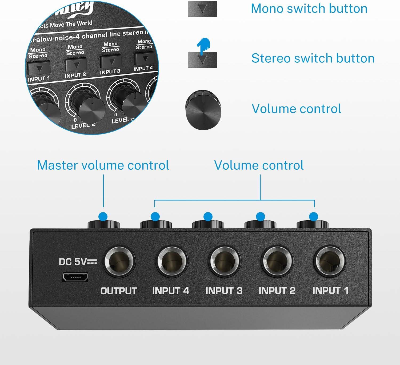 mixer portatile Moukey MAMX1 mixer per DJ a 4 canali Line chitarra mini audio basso mixer per submisti rumore ultra basso microfono mixer per piccoli club mixer per palcoscenico 4 stereo