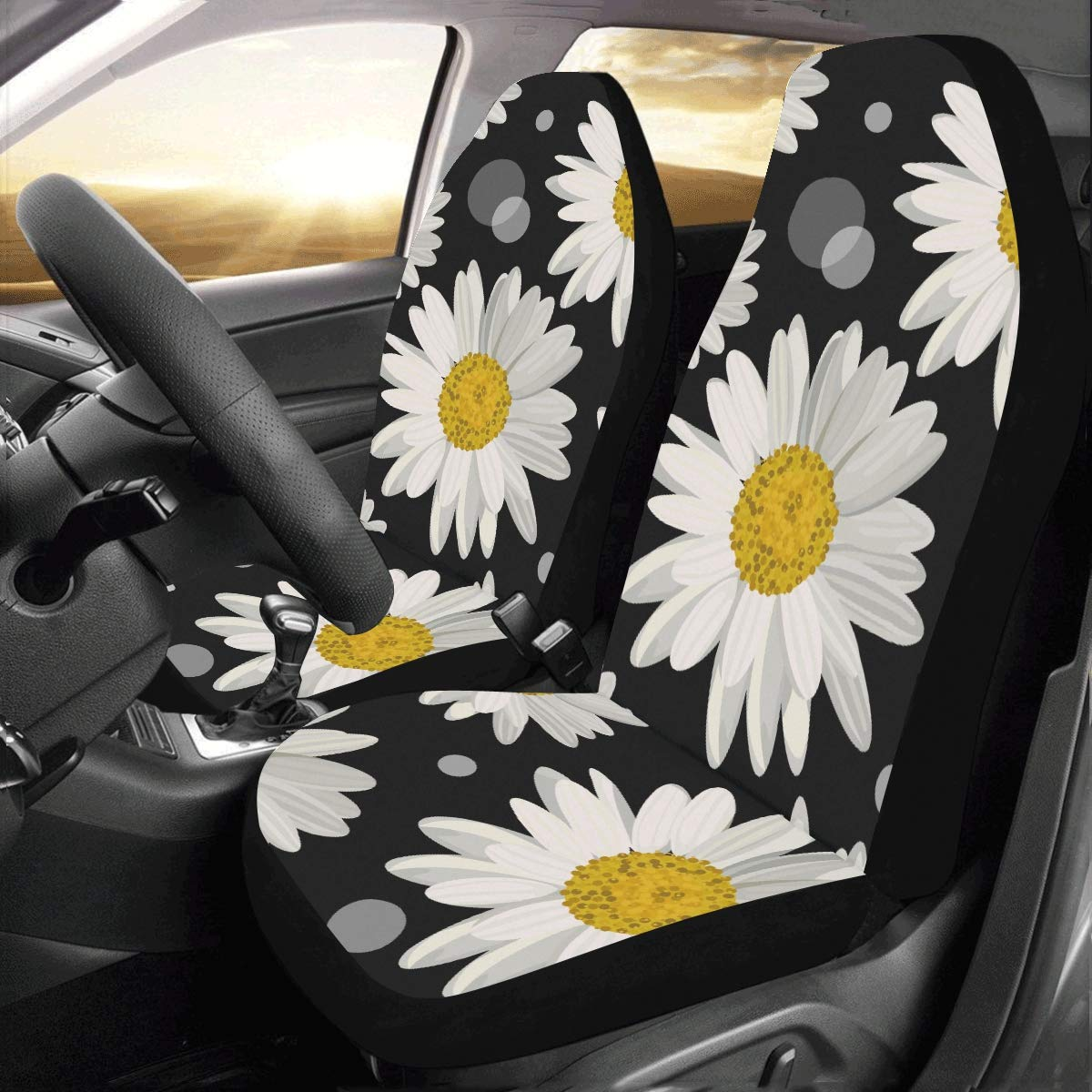 2pcs Car Seat Cover Universal Fit YELLOW