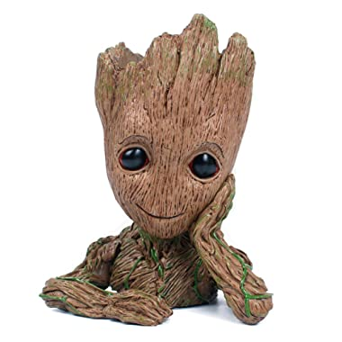 Baby Groot Flowerpot from Guardians of The Galaxy (Super Cute Edition) with BONUS Mini Groot Action Figure | Aikes Pen Holder Toy Groot Pot (Hand Crafted & Painted)