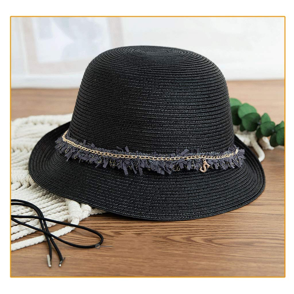 Black ZHANGHAIMING UPF + 50 Fisherman's Hat, Women's Summer Adjustable Straw Hat Elegant Casual Sun Hat Foldable 4 colors (color   White)