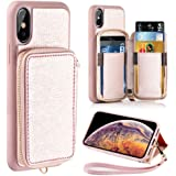 ZVE Wallet Case Apple iPhone Xs iPhone X, 5.8 inch, Leather Wallet Case Credit Card Holder Slot Zipper Wallet Pocket Purse Handbag Wrist Strap Case Apple iPhone Xs 2018 - Rose Gold