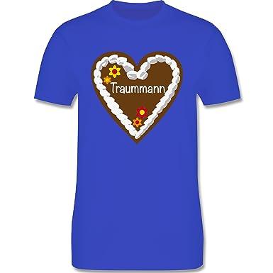Oktoberfest Herren - Lebkuchenherz Traummann - S - Royalblau - L190 - Herren  T-Shirt