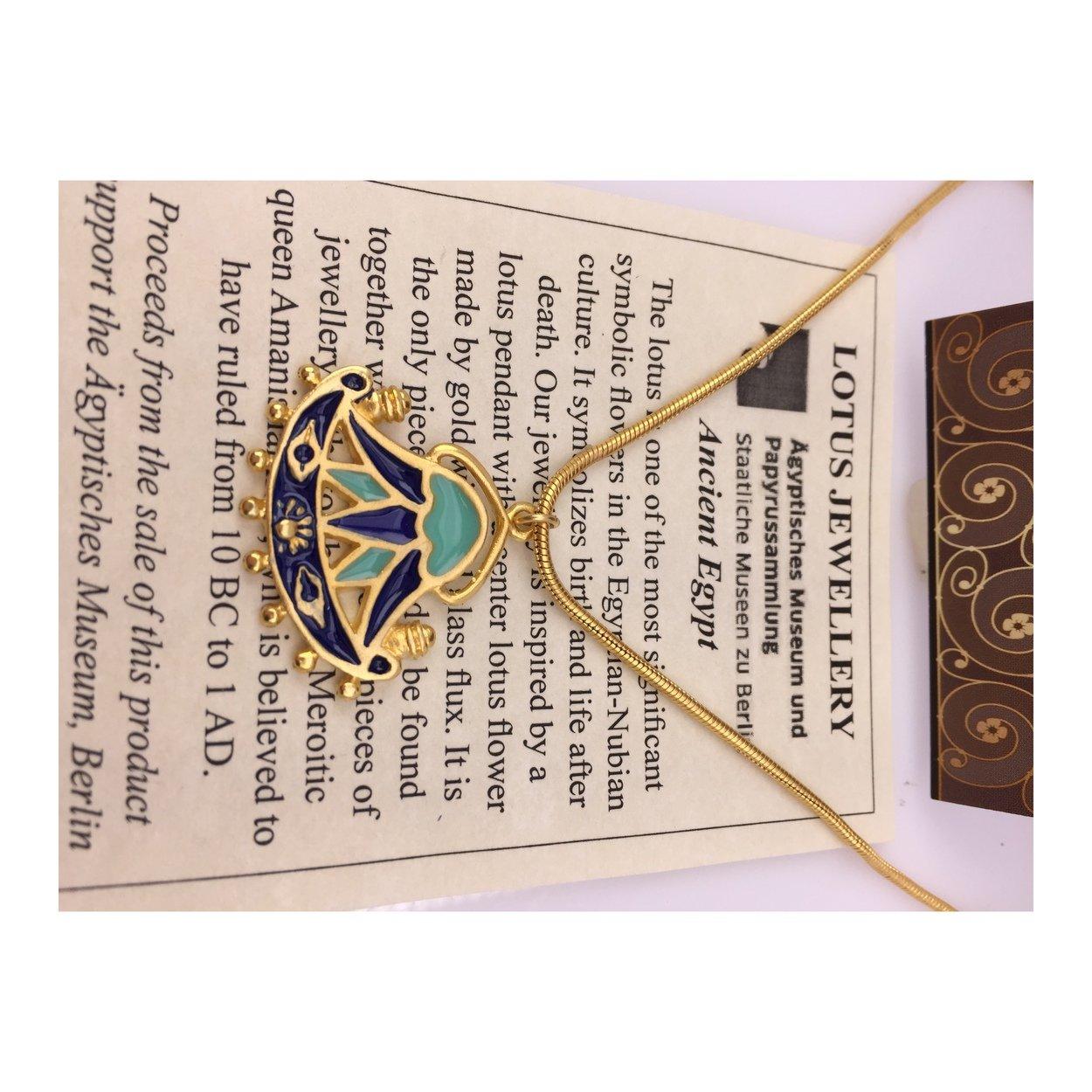 Amazoncom Pricegems Gold Finish Egyptian Lotus Flower Pendant Aqua