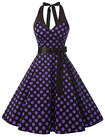Amazon.com: Dressystar Women Vintage Polka Dot Swing Party Picnic ...