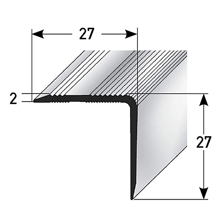135cm acerto 51127 Profil dangle descalier en aluminium profil descalier en aluminium 27x27mm Profil dangle descalier bronze fonc/é * Antid/érapant * Robuste * Montage facile
